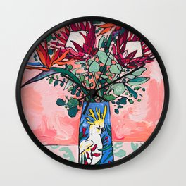Cockatoo Vase on Painterly Pink Wall Clock