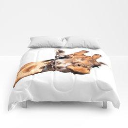 Giraffe portrait Comforters