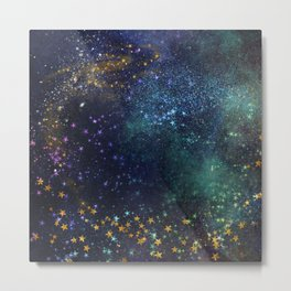 Magical Glitter Stars Metal Print