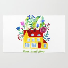 Home Sweet Home. Watercolor illustration Rug