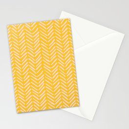 Arrow Lines Pattern in Mustard Yellow Pale Pink Stationery Cards