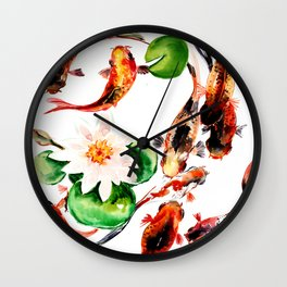 Koi Fish in Pond, Feng Shui Wall Clock
