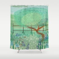 country Shower Curtains featuring Country Lane by Alannah Brid