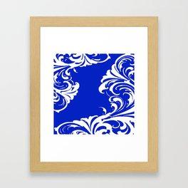 Damask Blue and White Framed Art Print