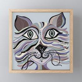 Denim Cat Framed Mini Art Print