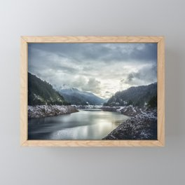 Cougar Reservoir on a Snowy Day Framed Mini Art Print