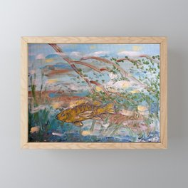 Yellow Perch in River Water Framed Mini Art Print