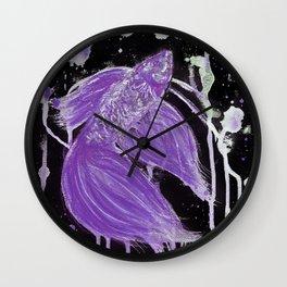 Purple Drip Spatter Betta Wall Clock