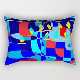Community Hanukkah Event with Red Outline, Menorahs Rectangular Pillow