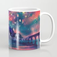 map of the world Mugs featuring The Lights by Alice X. Zhang