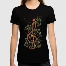Song birds Womens Fitted Tee Black LARGE