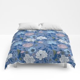 Lovely Seamless Floral Pattern With Subtle Poodles (Hand Drawn) Comforters