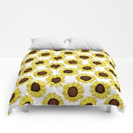Sunflowers are the New Roses! - White Comforters
