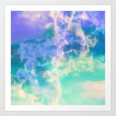 Mountain Meadow Painted Clouds Art Print