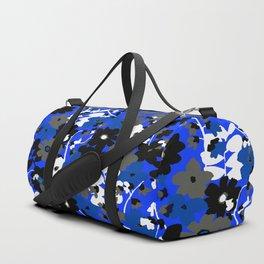 SUNFLOWER TRELLIS BLUE BLACK GRAY AND WHITE TOILE Duffle Bag