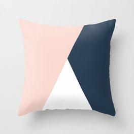 Elegant blush pink & navy blue geometric triangles Throw Pillow