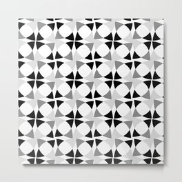 Abstract Floral Black and White Pattern Metal Print