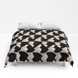 Weave me alone // pink, black + polka dot knit camo pattern Comforters