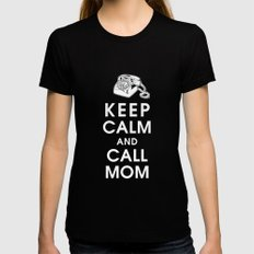 Keep Calm and Call Mom Black LARGE Womens Fitted Tee
