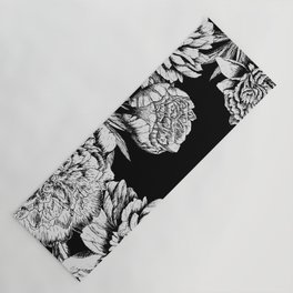 FLOWERS IN BLACK AND WHITE Yoga Mat