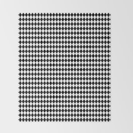mini Black and White Mini Diamond Check Board Pattern Throw Blanket