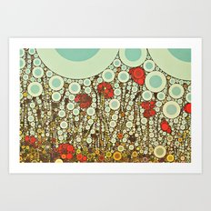 Pop Pop Poppies Abstract Red Flowers and sky with vintage pop art charm Art Print
