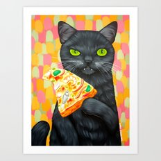 CAT AND PIZZA/SEAFOOD COMBO Art Print
