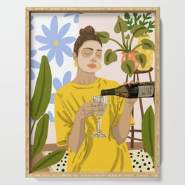 Self Care Illustration, Fashion Woman Wine Self Love, Face Mask Beauty Skin Care Plant Lady Serving Tray