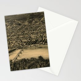 Vintage Pictorial Map of Moline IL (1889) Stationery Cards