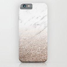 Glitter ombre - white marble & rose gold glitter Slim Case iPhone 6
