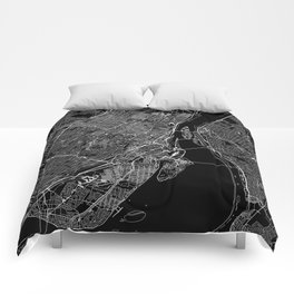 Montreal Black Map Comforters