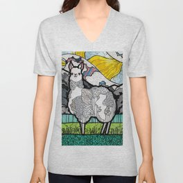 Llama and Andes Unisex V-Neck