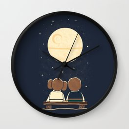 You and me and the moon Wall Clock