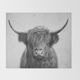 Highland Cow - Black & White Throw Blanket