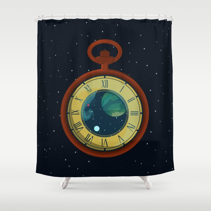 Cosmic Pocket Watch Shower Curtain