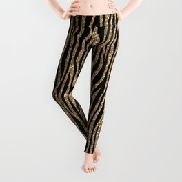 Black & Gold Glitter Animal Print Leggings