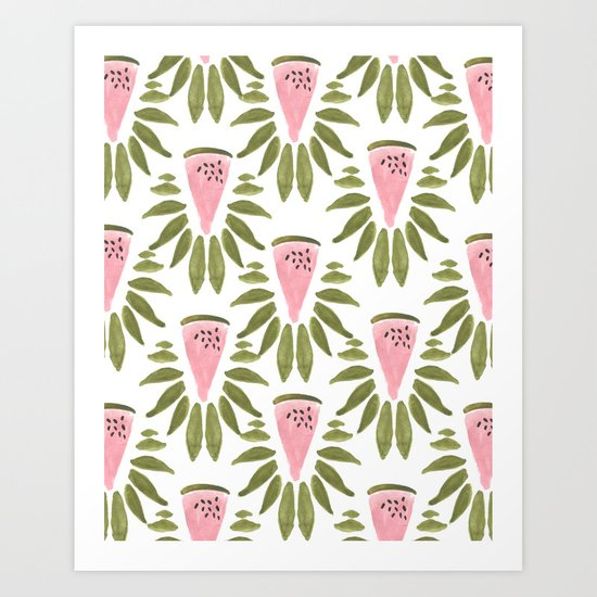 Watermelon and Leaves Art Print
