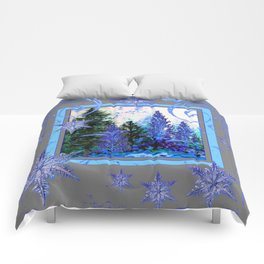 ORNATE BLUE-GREY WINTER SNOWFLAKES FOREST ART Comforters