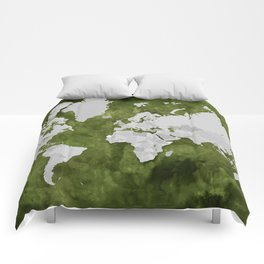 Moss green watercolor and grey world map with outlined countries Comforters
