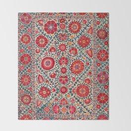 Kermina Suzani Uzbekistan Embroidery Print Throw Blanket