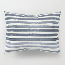 Simply Shibori Stripes Indigo Blue on Lunar Gray Pillow Sham