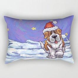 St. Bernard Christmas Rectangular Pillow