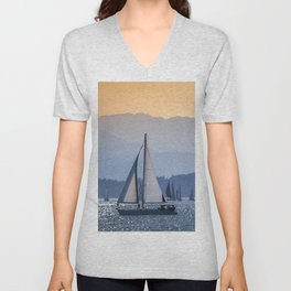 Sails Sea Mountains Unisex V-Neck
