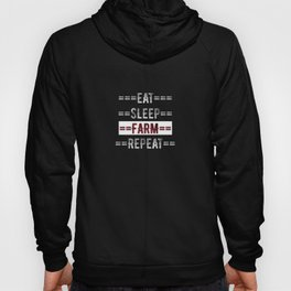 Farmer Gift - Eat Sleep Farm Repeat  - Distressed Text Design Hoody