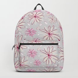 Pink and Grey Whimsical Flower Garden Drawings Backpack