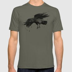 Raven Watercolor Bird Painting Black Animals Mens Fitted Tee SMALL Lieutenant