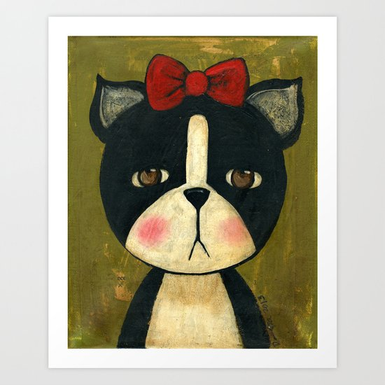 Portrait Of A Boston Terrier Dog Art Print
