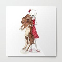 Skeleton kid with big bunny Metal Print