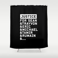 justice Shower Curtains featuring Justice by YEAH PRETTY MUCH