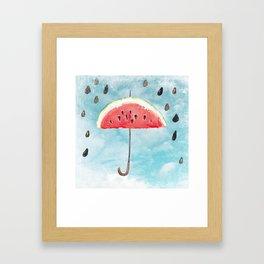 Melon - Fruity Summer Rain Framed Art Print